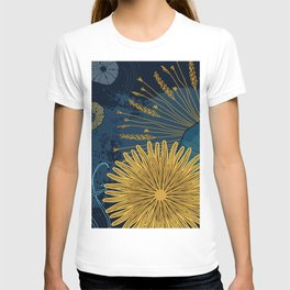 Navy floral background T-shirt