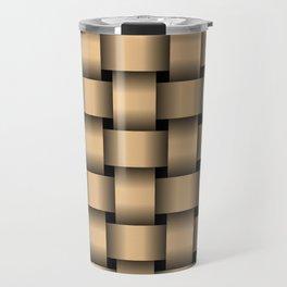Large Burlywood Orange Weave Travel Mug