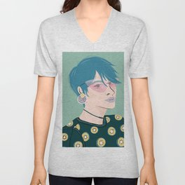 Teal Haired Girl Wearing a Kiwi Print Sweatshirt Unisex V-Neck