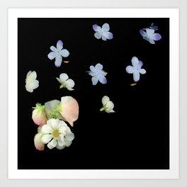 Sweet Pea, Daisy, Hydrangea Glitch Art Print