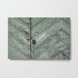 teal green chevron wooden doors Metal Print