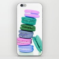 macaroons iPhone & iPod Skins featuring Macaroons  Pink Aqua Periwinkle by WhimsyRomance&Fun