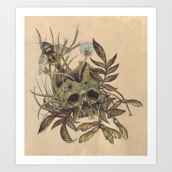 Skull with Weeds. Art Print