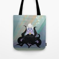 ursula Tote Bags featuring Kokeshi Sea witch by Pendientera