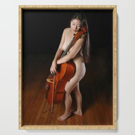 0199-JC Nude Cellist with Her Cello and Bow Naked Young Woman Musician Art Sexy Erotic Sweet Sensual Serving Tray