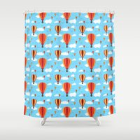hot air balloons Shower Curtains featuring Hot Air Balloons by velourvelvet