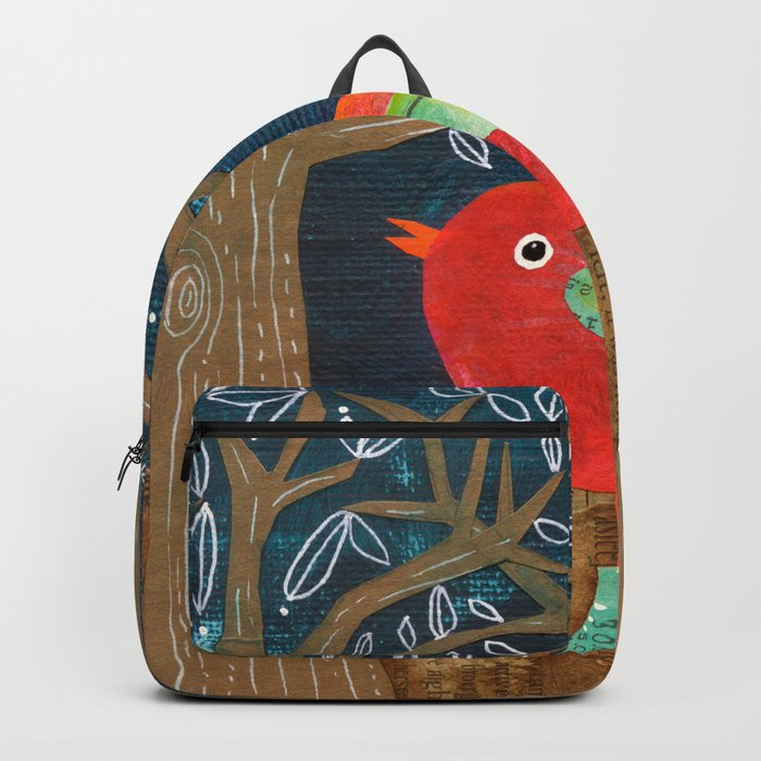 Red Bird in Galoshes Backpack