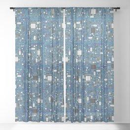 Blue tech Sheer Curtain