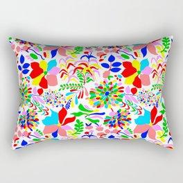 60's Fiesta Floral in White Rectangular Pillow