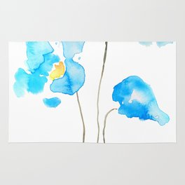 abstract Himalayan poppy flower watercolor Rug