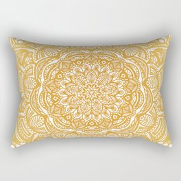 Golden Mustard Yellow Orange Ethnic Mandala Detailed Rectangular Pillow