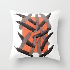 Leather Feathers Throw Pillow