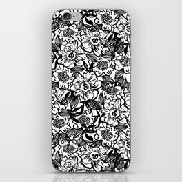 Ella - abstract floral flowers minimal modern black and white girly gender neutral boho painting iPhone Skin