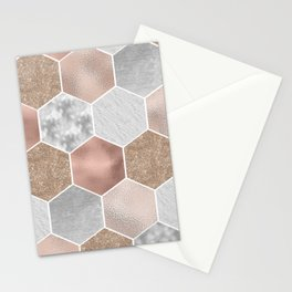 Gentle rose gold and marble hexagons Stationery Cards