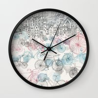 city Wall Clocks featuring Old Town Bikes by David Fleck
