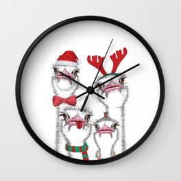 Christmas family ostrich Wall Clock