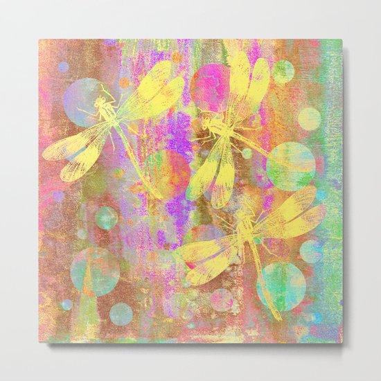 A Dragonflies and Dots Metal Print