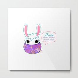 Llama Wear A Mask Metal Print