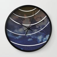 moon phases Wall Clocks featuring Moon Phases by rollerpimp