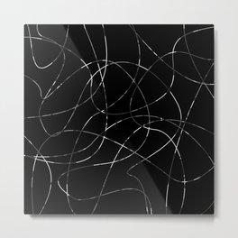 Abstract Threads Silver Dapple Metal Print