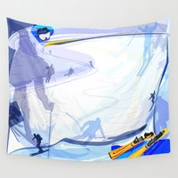 skiing Wall Tapestries featuring Downhill Skiing by Robin Curtiss