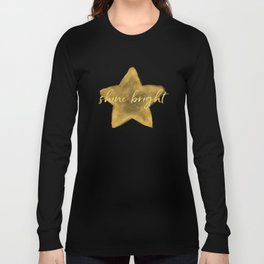 Gold Sky Blue Watercolor Stars Shine Bright Long Sleeve T-shirt