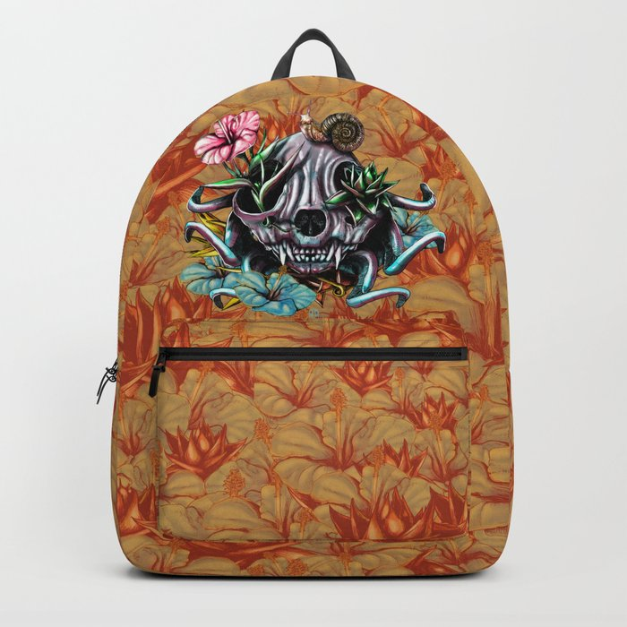The Skull the Flowers and the Snail CoLoR Backpack