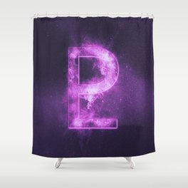 Planet Pluto Symbol. Pluto sign. Abstract night sky background. Shower Curtain