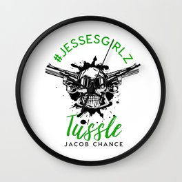 Tussle By Jacob Chance Wall Clock
