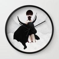 chicago bulls Wall Clocks featuring Fortune by Ruben Ireland