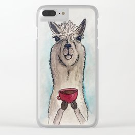 Just a Llama & His Latte Clear iPhone Case