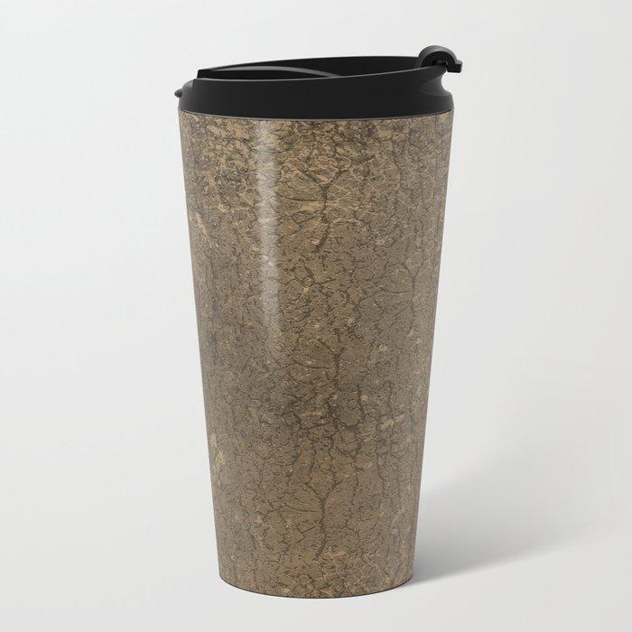 Rustic Tree Bark Pattern Metal Travel Mug