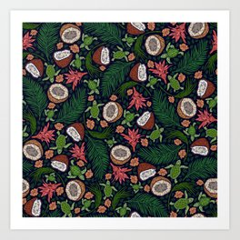Tropical: Sea Turtles and Coconut Pattern Art Print