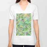 tropical V-neck T-shirts featuring Tropical Green by Cat Coquillette