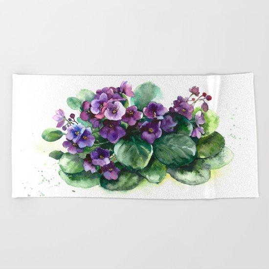 Senpolia viola violet flowers watercolor Beach Towel
