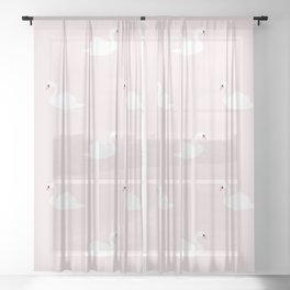 Swan pattern on pink 033 Sheer Curtain