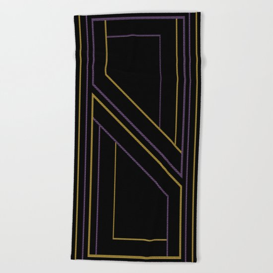 Geometry on black (abstract) Beach Towel
