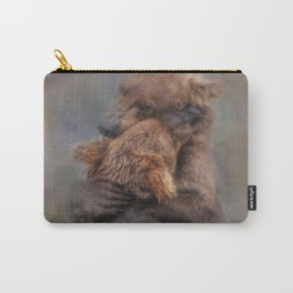 Vintage Painting Of A Big Bear Hug In The River Bears Living In The Wild Carry-All Pouch