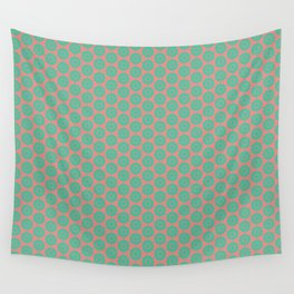 Minty Salmon Pink Background Green Circles Wall Tapestry