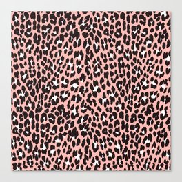 Blush pink black white abstract cheetah animal print Canvas Print