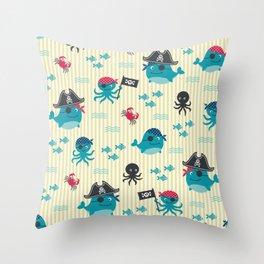 Underwater pirates vintage pattern Throw Pillow