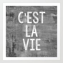 Cest La Vie French Quote That's Life Grey Grunge Art Print