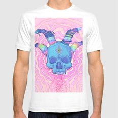Mana Skull 2 White Mens Fitted Tee LARGE