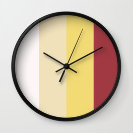 Color Combination. White, Vanilla Custard, Goldfinch, Scarlet Sage. Minimal Style. Solid Colors. Wall Clock