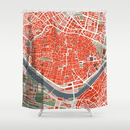 Seville city map classic Shower Curtain