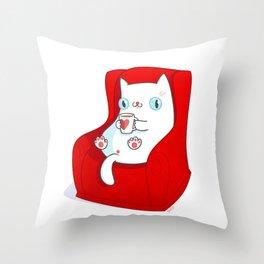 Kitty Loves Tea Throw Pillow