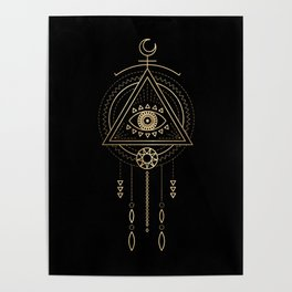 Mandala Tribal Eye Copper Bronze Gold Poster