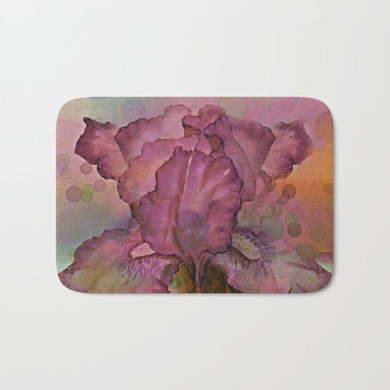Deep Pink Watercolor Iris Bath Mat