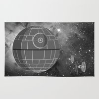 death star Area & Throw Rugs featuring Death Star and Cosmos by foreverwars