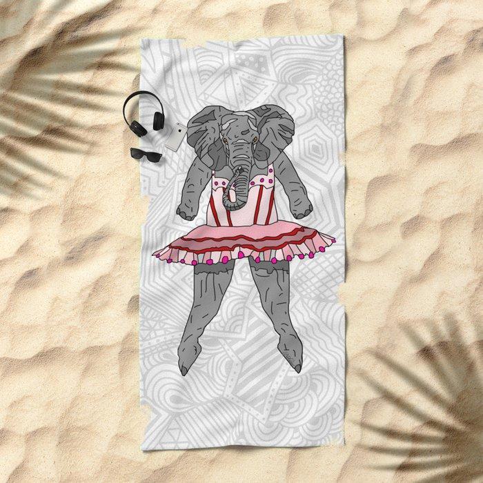 Elephant Ballerina Tutu Beach Towel